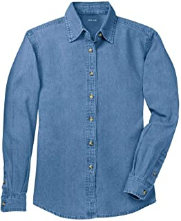 Ladies Long Sleeve Value Denim Shirts in Sizes XS-4XL