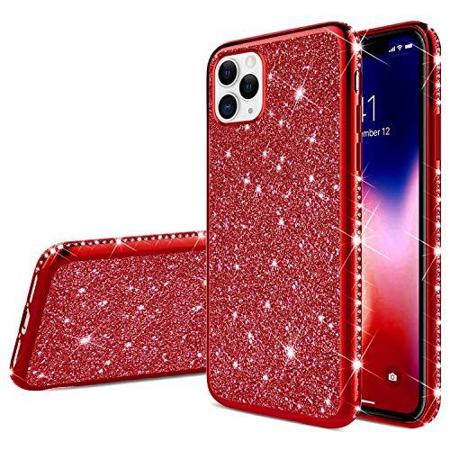 JJinghuash - Funda para iPhone 11 Pro con purpurina, brillante, brillante, con diamantes de imitación, ultrafina, resistente a los golpes, carcasa de silicona TPU, color rojo