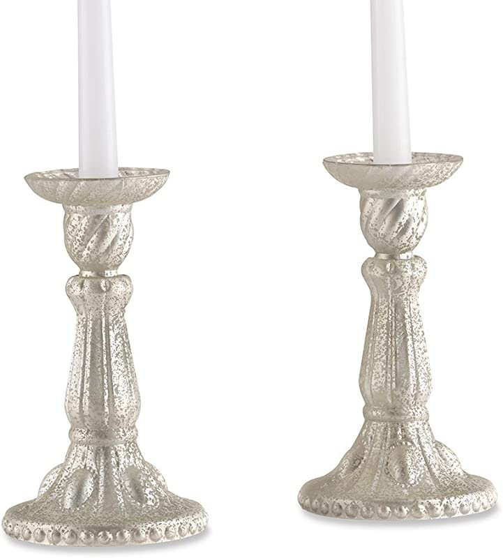 Kate Aspen 27117NA Champagne Frosted Mercury Candlesticks Set Of 2