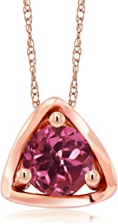 Gem Stone King 10K Rose Gold 0.50 Ct Round Pink Tourmaline Pendant with Chain