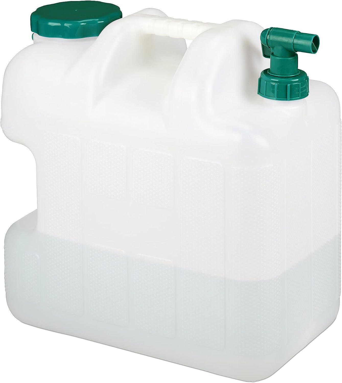 Relaxdays Garrafa con Grifo, 25 litros, Plástico sin BPA, Tapón de Cuello Ancho, Asa, Bidón Acampadas, Blanco y Verde