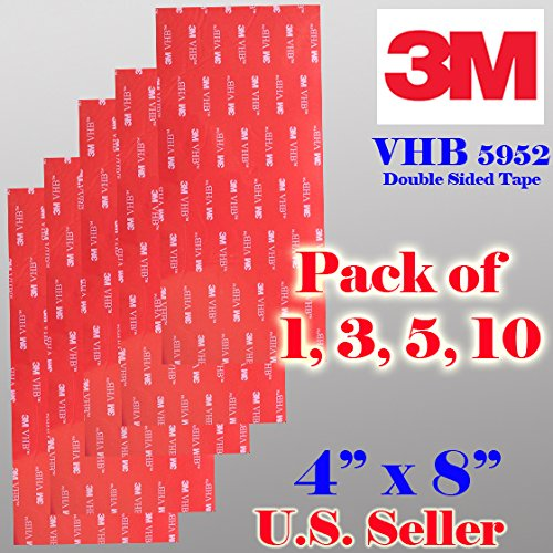 "3m VHB 4"" X8"" Double Sided Foam Adhesive Sheet Tape 5952 Automotive Mounting Industrial Grade Very High Bond 5952 (5 Sheet 4"" x 8"")"