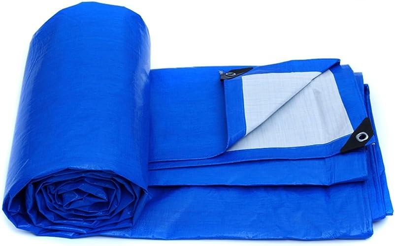 LXYFMS Bache en Plastique Bache De Pluie Tissu Poncho Camion Bache Bache Toile Parasol Pare-Soleil en Plein Air Isolation Bache extérieure (Couleur   bleu blanc, Taille   8  6m)