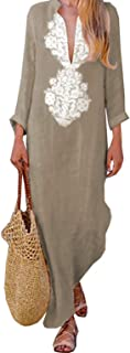 Women's Floral Printed Cotton Linen Long Sleeve Solid Loose V Neckline Boho Long Dress Kaftan Casual Dress