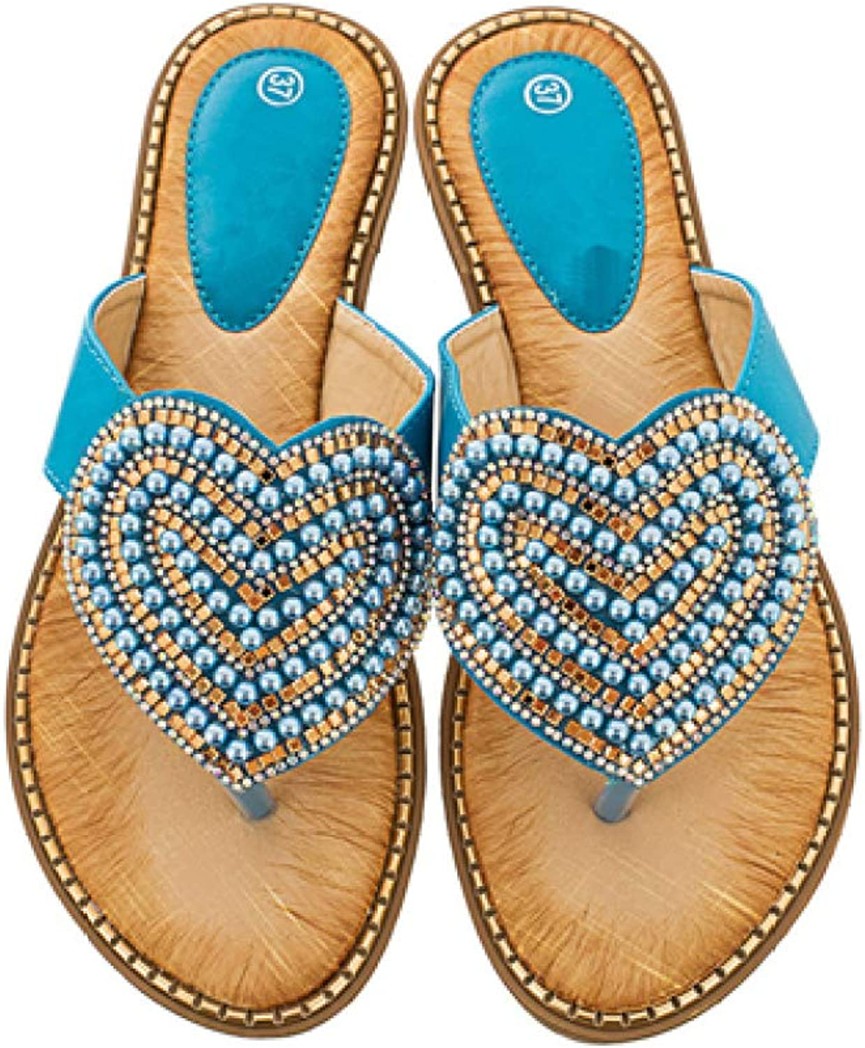 T-JULY Women Pearl Flip Flops Ladies Beaded Sandals Woman Crystal Thong Slippers Summer Beach shoes in White Black bluee Apricot Green Pink Red