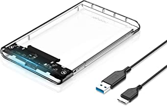 """Neeyer 2.5"""" Hard Drive Enclosure, USB 3.0 to SATA III Clear External HDD/SSD Enclosure - Optimized for 9.5mm 7mm 2.5"""" SSD,..."""