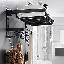 XINHU Zwart badkamer rack, badkamer handdoekenrek, wandgemonteerde aluminium matte zwarte handdoekenrek met handdoekenbar ...