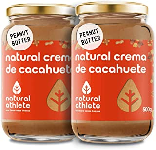 Crema de Cacahuete Natural Athlete 100% Natural, Sin Azúcar ni Sal, Vegana, Sin Aceite de Palma, Sin Gluten, Sin Lactosa | Peanut Butter | Mantequilla Cacahuete Textura Suave - Pack 1kg