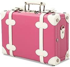 Unitravel Vintage Cute Suitcase PU Leather Women Handbag Organizer(12inch, Rose Pink)