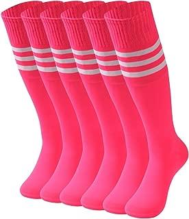 Woman Knee High Socks,6 Pairs Dress White Stripe Football Soccer Sports Tube Long School Uniform Socks Size 9-13 Rose Red