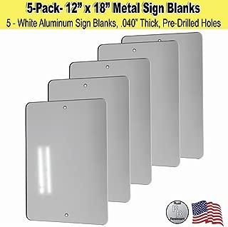 "Visibility Signage 12"" x 18"" Metal Sign Blank – White Aluminum - .040"" (5)"