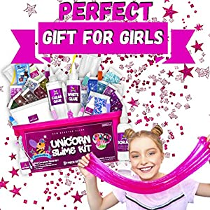 Unicorn Slime Kit for Girls 57pcs -Slime Making Kit and Slime Supplies Kit -2 in 1- DIY Slime Kits with Everything – Make Fluffy, Unicorn,Butter, Cloud Slime – Unicorn Gifts for Girls