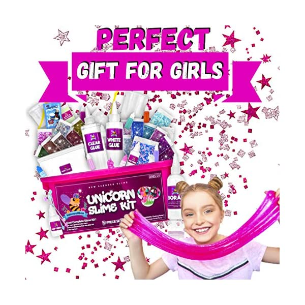 Unicorn Slime Kit for Girls 57pcs -Slime Making Kit and Slime Supplies Kit -2 in 1- DIY Slime Kits with Everything - Make Fluffy, Unicorn,Butter, Cloud Slime - Unicorn Gifts for Girls 4