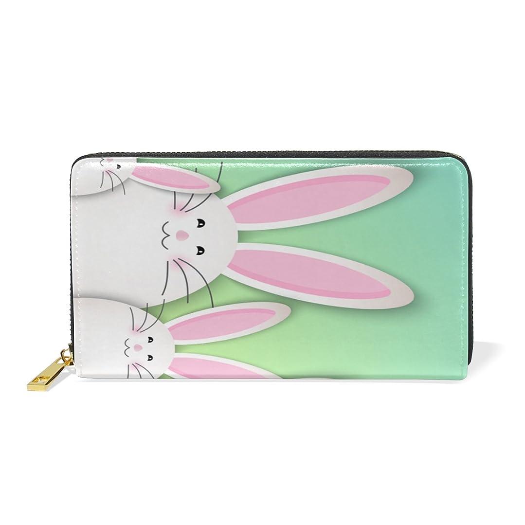 横たわる識別所属AyuStyle レディース メンズ 長財布 二つ折り 財布 ラウンドファスナー ウォレット かわいい バニー ウサギちゃん うさぎ rabbit カード入れ 現金入れ 大容量