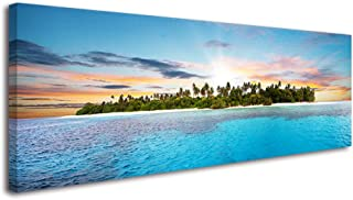 Blue Island Wall Art for Bedroom, Panoramic Ocean Pictures Canvas Prints, Relaxing Holiday Leisure Time Beach Theme Sea Decor Artwork (1