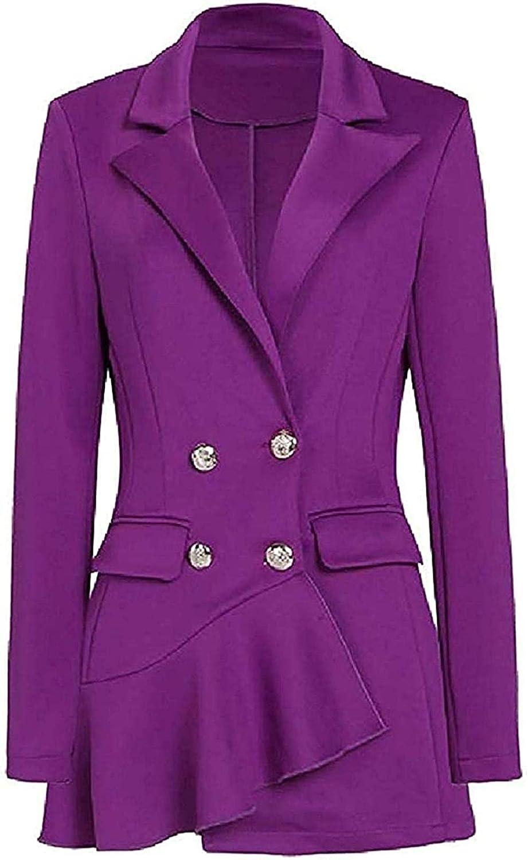 Women's Fashion Double-Breasted Slim Fit Business Blazer Suit Ja