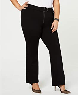 Macy's INC International Concepts Plus Size Belted Ponte Bootcut Pants (Black, 24W)