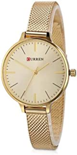 Curren 9022 Quartz Movement Stainless Steel Strap Round Analog Gold Watch for Women