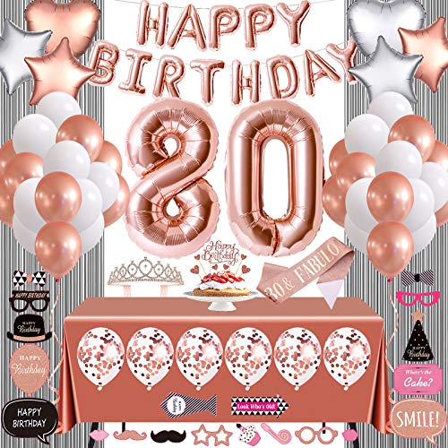Rose Gold 80th Birthday Party Decorations