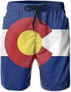 FASUWAVE Mens Swim Trunks Watercolour Palm Trees Quick Dry Beach Board Shorts with Mesh Lining