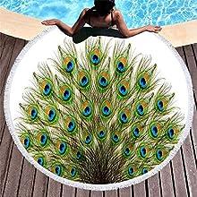 Toalla De Playa Redonda,Pluma De Pavo Real Impreso Toalla De Borla Microfibra Seca Rápida, Chal Redondo Redondo De La Playa De La Alfombra De Yoga Redondo, Ocio De La Playa, Estera De Picnic Para El