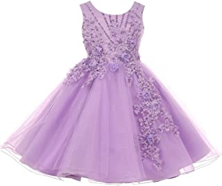 4fe94d41 Cinderella Couture Big Girls Lavender Pearl Beaded Glitter Tulle Junior  Bridesmaid Dress 8-12