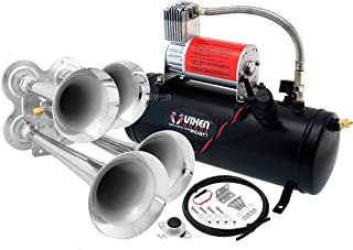 Vixen Horns Train Horn Kit for Trucks/Car/Semi. Complete Onboard System- 150psi Air Compressor, 1.5 Gallon Tank, 4 Trumpets. Super Loud dB. Fits Vehicles Like Pickup/Jeep/RV/SUV 12v VXO8530/4114
