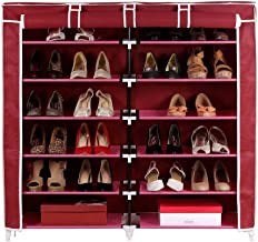 Gadgets Appliances Double Cabinet Shoe Rack Shoe Organizer Shoe Cabinet Large, Covered & Spacious (Size : Length 118 X Width 30 X Height 120 cm) Maroon