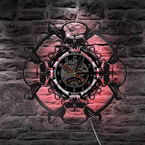 BFMBCHDJ Retro Schädel Design Wanduhr Schädelkopf Vinyl Schallplatte Wanduhr Skelett Vampir Herren Halloween Home Decor Wandkunst Uhr Uhr