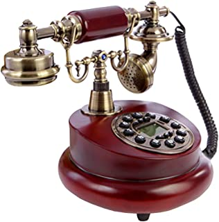 Vintage Mobile Phone, Antique Phone Solid Wood Fuselage 60s Fashion Wired Dial Phone Retro Home Accessories Decoration Ret...