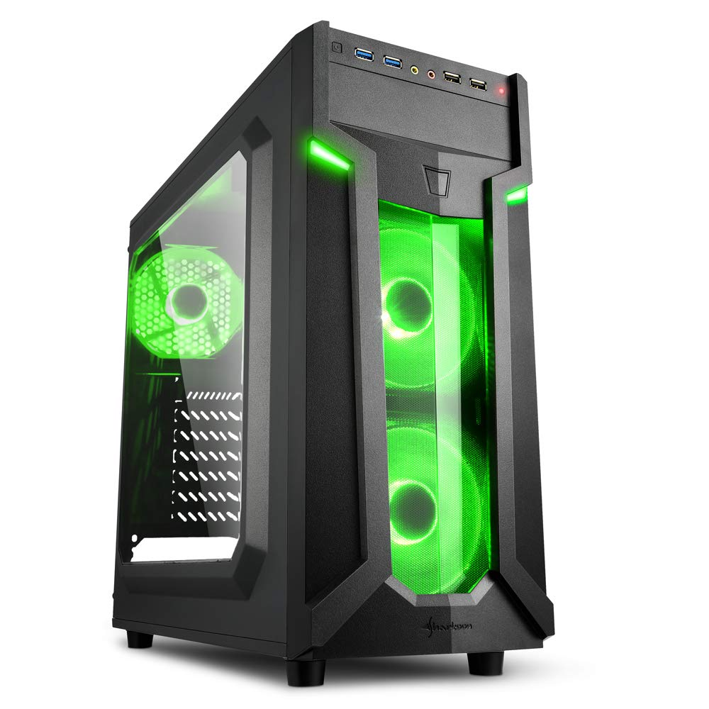 Sharkoon VG6-W - Caja de Ordenador, PC Gaming, Semitorre ATX, Negro/Verde: Amazon.es: Informática