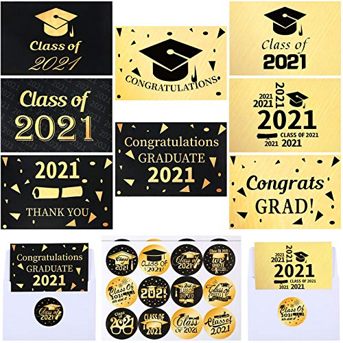 24 Pieces Graduation Thank You Cards Gold Congratulations Card Class of 2021 Congrats Note Cards with 24 Pieces Envelopes and Graduation Stickers for Graduates Party Supplies Game Activities