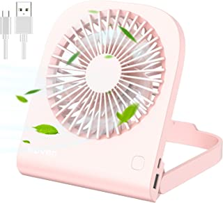 iHoven USB Mini Desk Fan 6 inch, Rechargeable 4800mAh Battery Operated Mini Table Fan Noiseless Portable, 180° Foldable Adjustable 4 Speeds Small Desktop Fan for Bedroom Home Office Camping Cooling