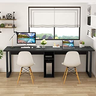Tribesigns 78'' Computer Desk, Extra Large Two Person Office Desk with Shelf, Double Workstation Desk for Home Office (Black)