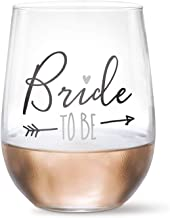 Bride To Be - 20 oz Stemless Wine Glass (Black, Metallic Silver) | Engagement Party Gift, Just Engaged, Newly Engaged