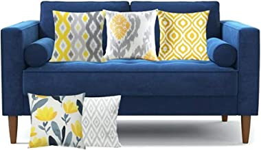 ELEMENTARY - basics redefined Floral Ikat Print Yellow and Grey Cushion Covers / Decorative Throw Pillow Covers Set of 5 (16x