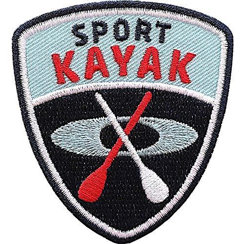 Club of Heroes 2 x Kayak Aufnäher gestickt 55 x 60 mm/Kajak Kanu Kayaking Kanutour/Patch Aufbügler Flicken zum Aufnähen oder Aufbügeln auf Kleidung Tasche Rucksack/Ruderboot Paddle Zubehör