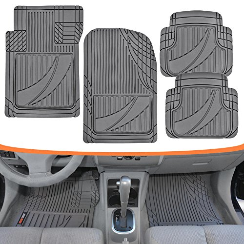 Motor Trend FlexTough Advanced Performance Mats - 4pc HD Rubber Floor Mats for Car SUV Auto All Weather Plus (Gray) (MT-794-GR)