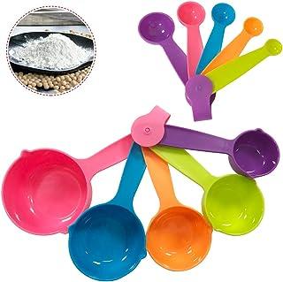 Ledeak 10 Pièces Cuillères et tasses à mesurer, Cuisine Tableau de Conversion Plastique Multicolores, Kitchen Craft Colour...