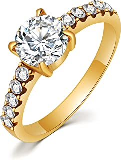 HZMAN Classic 4-Prong CZ Simulated Diamond Engagement Rings for Women Anniversary Promise Bridal Wedding Ring Size 6-10