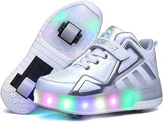 Moquite Unisex Bambino LED Scarpe con Rotelle Automatiche Skate Formatori Sportive Ginnastica Lampeggiante Outdoor Multisp...