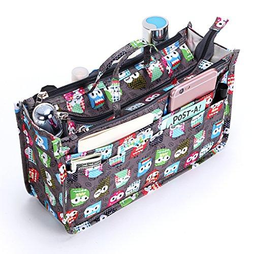 IGNPION bedruckter Handtaschen-Einsatz, Organizer mit 13 Taschen, erweiterbarer Beutel mit Reißverschluss, Einkaufstaschen-Organizer, Winckeltaschen-Einsatz mit Griff, eule (Mehrfarbig) - IGN0027