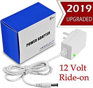 12V Ride On Charger for Kids Toy Car by Onelect - 12 Volt Battery Ride-Ons Adapter Accessories - 12 V Converter Barrel Plug Compatible with CoTrax Dynacraft Wrangler SUV - White