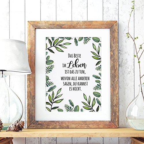 Wandtattoo-welt® Poster A3 avec plantes et inscription en allemand \