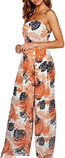 6c0e39044557 4Clovers Womens Boho Sleeveless Strapless Jumpsuits High Waist Casual  Floral Print Wide Leg Long Pant Rompers