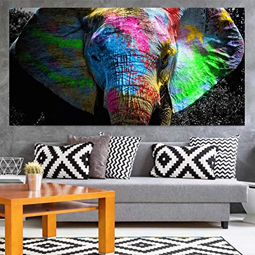 Graffiti Pop Art Elephant Canvas Paintings On The Wall Posters and Prints Colorful Animals Wall Pictures For Kids Room Cuadros 40x80 CM (sin marco)