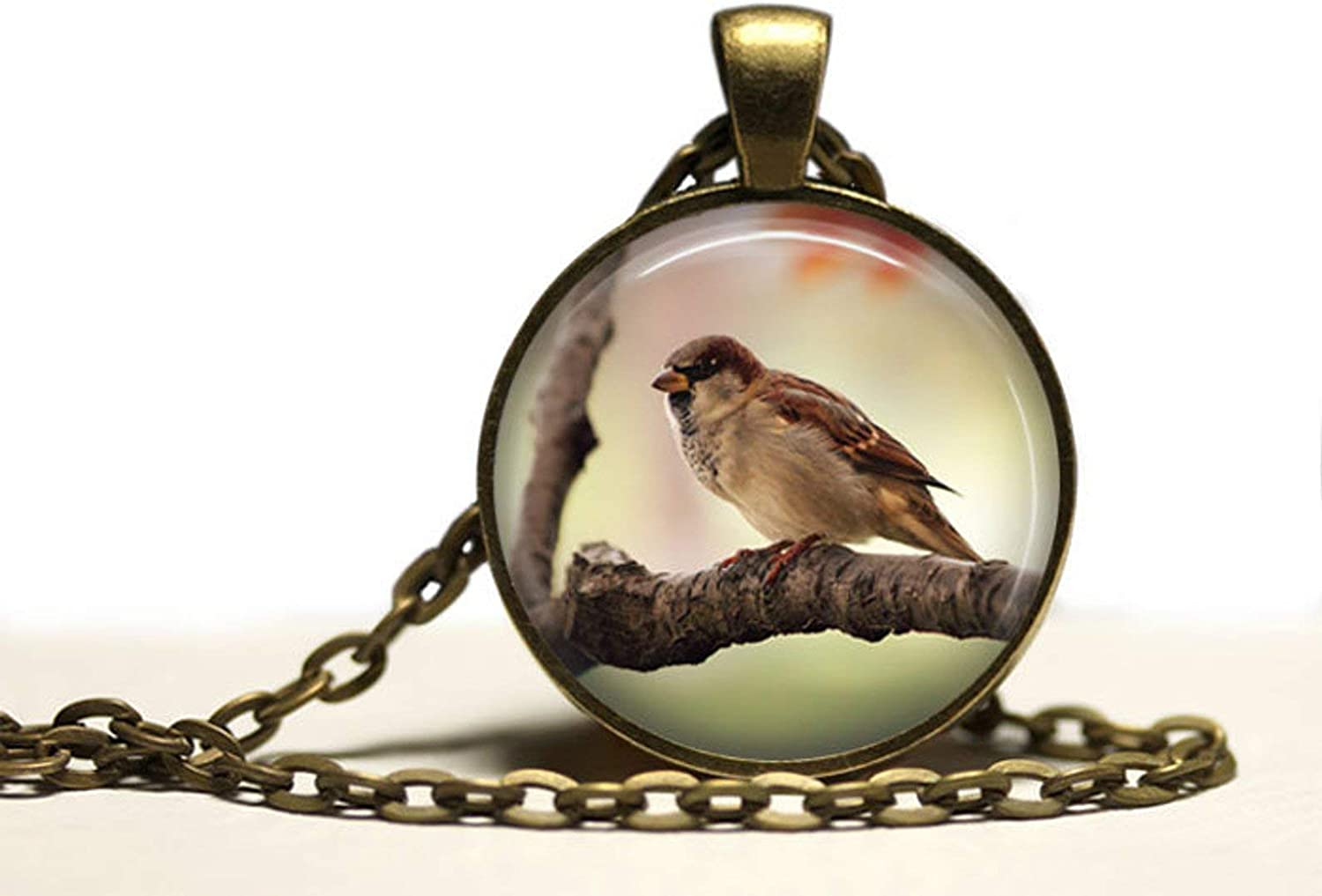 Sparrow necklace ,Nature charm Beast jewelry ,Wild pendant,Dome glass jewelry, pure hand-made