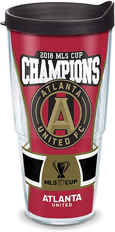 Tervis 1322379 Atlanta United 2018 MLS Cup Champions Insulated Tumbler With Wrap And Black Lid 24oz Clear