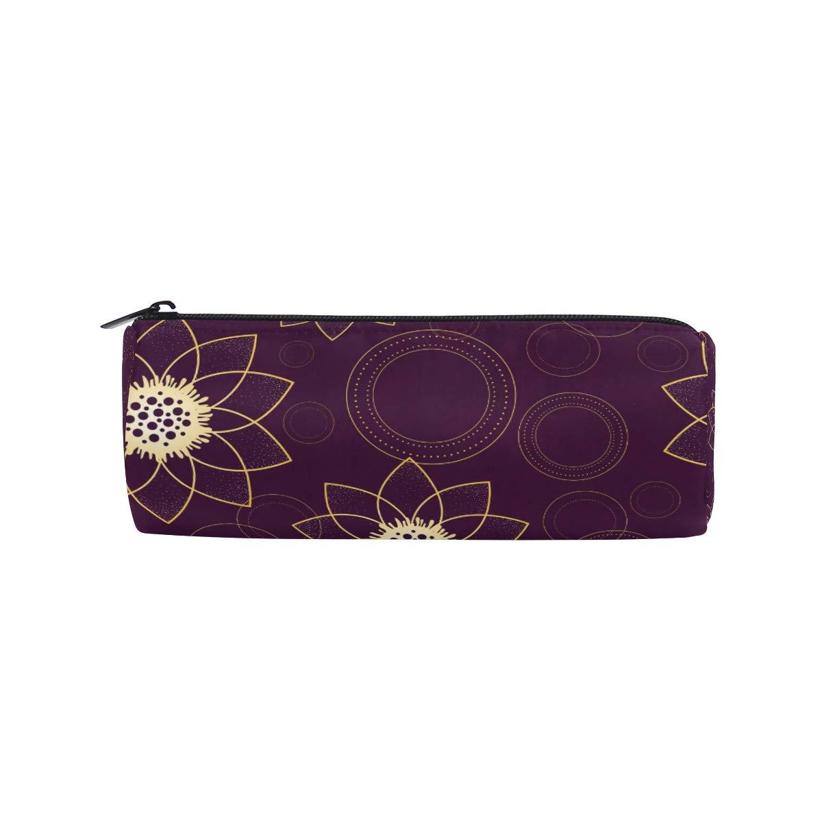 Estuche cilíndrico para lápices, con forma de anillo de flores psicodélicas, bolsa de papelería con cremallera: Amazon.es: Oficina y papelería