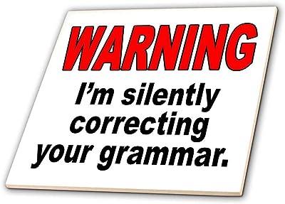 3dRose Warning Im Silently Correcting Your Grammar - Ceramic Tile, 4-Inch (ct_171883_1)